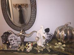 Front hallway table!  Halloween ready!