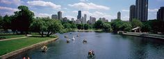 High angle view of a group of people on a paddle boat in a lake photograph, Lincoln Park Chicago, Illinois, USA  Chicago, Illinois Photographs are available for purchase - call or email to inquire about pricing.