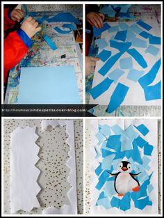 .. Petit pingouin dans sa banquise ( collage ) More