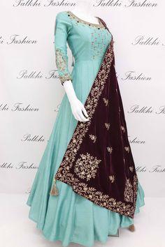 Mar 2019 - Elegant Light Teal Soft Silk Designer Outfit with Beautiful Velvet Dupatta Party Wear Dresses, Dress Outfits, Fashion Dresses, Dress Party, Fashion Fashion, Couture Dresses, Street Fashion, Trendy Fashion, Fashion Ideas