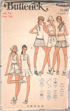 1970s Butterick 6204 Misses Tennis Dress Briefs and by mbchills