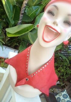 STUDDED red LEATHER COLLAR necklace scarf bandana by whackytacky, $29.99