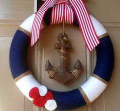 Nautical wreath / Yarn Wreath / Anchor Decor / Summer Wreath / Navy and White / Red and White / Nautical Life Preserver Wreath on Etsy, $34.00