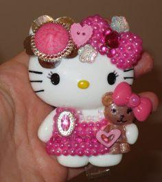 New! Pink! Hello Kitty and Teddy Bear Id Badge Reel Holder SALE | evezbeadz - Accessories on ArtFire