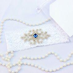 Weddings #garter #ivory #white #somethingblue #bride #gift.