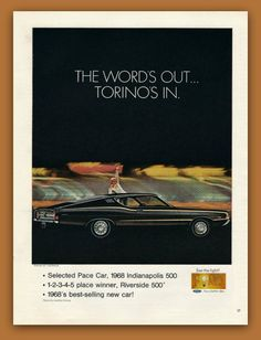 1968 Ford Torino car vintage magazine ad print by catchingcanaries