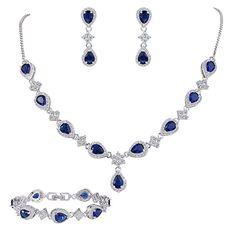 EleQueen Women  Silver-tone Cubic Zirconia Teardrop Flower Bridal V-Necklace  Set Tennis Bracelet Dangle Earrings Sapphire Color 7f6e8d1a90a7