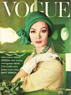 Vintage emerald appeal - this Vogue magazine cover is from February 1961(via GLC Art Director Grethen Rund)