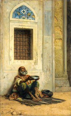 MENDICANT AT THE MOSQUE DOOR - by Stanislaus von Chlebowski  1835 - 1884