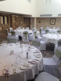 Chair covers with sage green sashes
