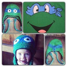 Crochet blue TMNT hat