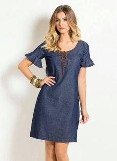 Pattern denim dress (sewing and cutting) - Journal Inspiration Needlewoman Denim Fashion, Girl Fashion, Dress Outfits, Fashion Dresses, Modest Dresses Casual, Best Prom Dresses, Denim Ideas, Denim Outfit, Jeans Dress