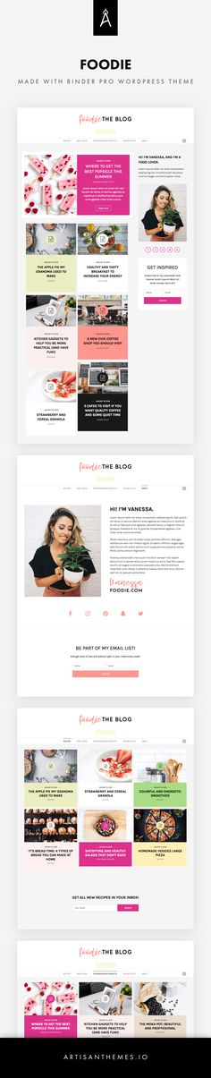 Foodie is a site ready to be installed, made with Binder PRO WordPress Theme by Artisan Themes. A personal blog for a food lover or a lifestyle blogger / author. Colorful, modern and cheerful. Pages included: Home, Category Pages, About.
