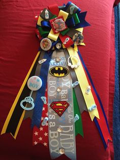 Super heroes baby shower corsage