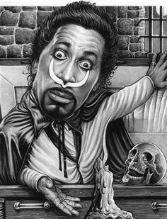 Screamin' Jay Hawkins | Debuted in 1946 | Famed chiefly for his powerful, operatic vocal delivery, and wildly theatrical performances, he sometimes used macabre props onstage, making him an early pioneer of shock rock | I Put a Spell on You was selected as one of The Rock and Roll Hall of Fame's 500 Songs that Shaped Rock and Roll | Artwork by Drew Friedman [©2009-2014]
