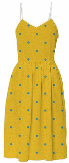 Yellow & Turquoise Blue Polka Dots by designsbyhafapea