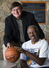 1966 TWC basketball team members Willie Cager and Togo Railey.the 1966 Texas Western College (TWC) team, the first to start a squad of African Americans in a championship basketball game. TWC's (which became UTEP) victory over Kentucky in the national championship game truly broke the color barrier in college sports. - See more at: http://www.thc.state.tx.us/blog/explore-texas-african-american-history#sthash.Hg7qP7OS.dpuf