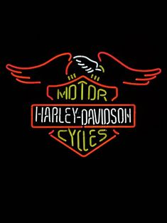 Great to be used for a stencil. Vintage Harley Davidson Neon Sign