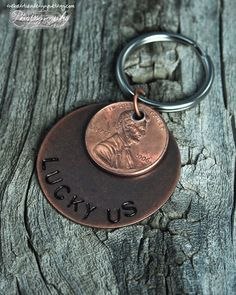 Copper Lucky Penny Hand Stamped Keychain (Lucky Us or whatever you'd like) Gifts for Men. $14.00, via Etsy.
