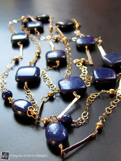 The Long And Elegant Lapis Lazuli and Hammered by HeartGoddess, $340.00