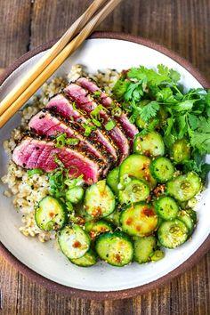 Sesame Crusted Seared Tuna | Feasting At Home Tuna Recipes, Seafood Recipes, Healthy Dinner Recipes, Asian Recipes, New Recipes, Whole Food Recipes, Cooking Recipes, Summer Recipes, Paleo Recipes