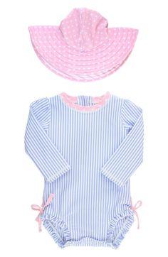 90e31c6391986 Ruffle Butts Seersucker One-Piece Rashguard Swimsuit   Hat Set (Baby Girls)