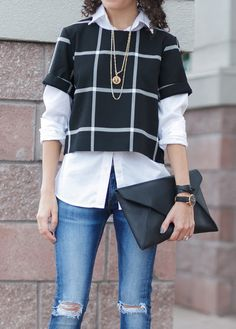 Keeping things simple with black, white, and denim   Kelly of Alterations Needed layering the Checker Cropped Top and a classic white button up from Banana Republic