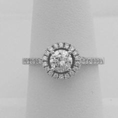 1/2 Carat Classic Halo Engagement Ring with 5mm Cubic Zirconia on Sterling Silver with Rhodium Plating