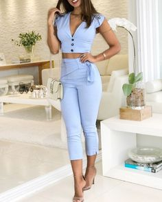 boutiquefeel / Solid Plunge Buttoned Top & Pants Set - Fashion Show Set Fashion, Trend Fashion, Fashion Outfits, Womens Fashion, Fashion Edgy, Fashion Spring, Latest Fashion, High Fashion, Fashion Online
