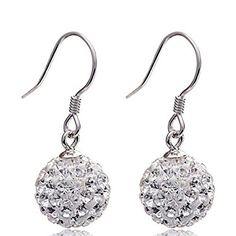 QTALKIE 925 Sterling Silver Shambhala Ball Drop Dangle Earrings10MM *** More info could be found at the image url.