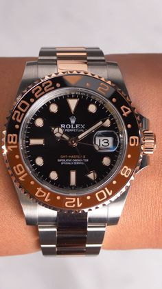 #rolex #rolexrootbeer #rolexGMT #GMTMaster2 Gmt Master 2, Rolex Gmt Master, Men's Watches, Cool Watches, Gmt Batman, Girl Gang Aesthetic, Used Rolex, Expensive Watches, Watch Model