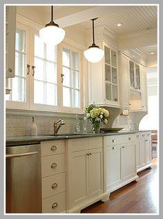 kitchen - backsplash, lighting, ceiling