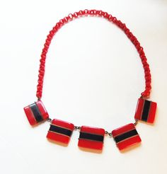Red and Black Geometric Bakelite Necklace by CollectionsbyAnn2, $480.00
