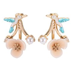 New Design Flower Birds Stud Earring Fashion Brincos Gold Silver Plated Crystal Double Pearl Earring