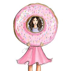 A tiny treat for the weekend  #fashionsketch #fashionillustration #fashionillustrator #boston #bostonblogger #bostonillustrator #copic #copicmarkers #copicart #hnicholsillustration #donut #donuts