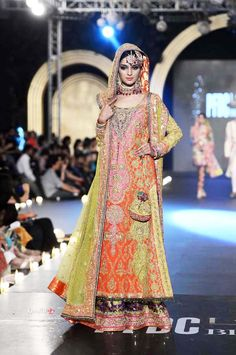 Pakistani Bridal Wear - Colorful lengha by Nomi Ansari at PFDC Bridal Fashion Week 2013 Bridal Mehndi Dresses, Mehendi Outfits, Indian Bridal Wear, Pakistani Wedding Dresses, Pakistani Outfits, Indian Dresses, Pakistani Mehndi, Pakistani Couture, Asian Bridal