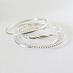 Set Of 5 Delicate Rings Dainty Rings Thin Dot Rings 10 mm Round 12 mm Rings Rope Ring 2 mm 925 Sterling Silver Ring Gift For Her Simple Jewelry, Jewelry Rings, Jewelry Accessories, Gold Jewellery, Diamond Jewelry, Glass Jewelry, Yoga Jewelry, Silver Engagement Rings, Diamond Wedding Rings