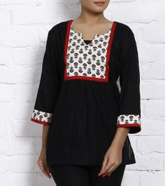 ICR 396 - This is a black self cotton tunic with a block printed yoke on the front and sleeves with a maroon patti edgings.