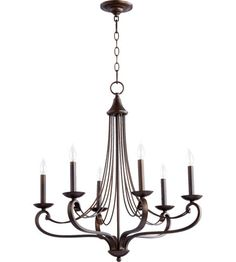 Quorum International Lariat 6 Light Chandelier in Oiled Bronze 6030-6-86 #lightingnewyork #lny #lighting