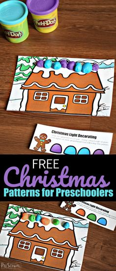 FREE Christmas Patterns for Preschoolers - Kids will have fun decorating Gingerbread while working on Christmas math activity working on Patterns as a hands-on math activity in December. Preschool Christmas Activities, Christmas Worksheets, Rhyming Activities, Christmas Math, Free Christmas Printables, Free Preschool, Toddler Preschool, Christmas Lights, Christmas Crafts