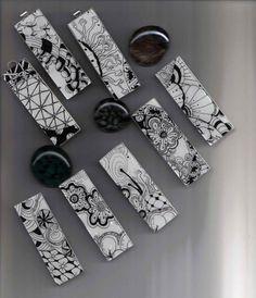 Zentangle inspired pendants by Certified Zentangle Teacher Toni Henneman by colette