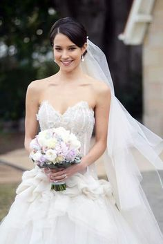 April - Home and Away Wedding. I love her look! Leila, Wedding Movies, April Wedding, Celebs, Celebrities, Home And Away, Wedding Bells, One Shoulder Wedding Dress, Wedding Hairstyles