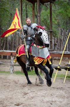 David Schade on the Percheron jousting horse Abraham, Tournament Winner, Mid-faire Jousting Tournament at Sherwood Forest Faire 2015 (photo by GRHook Photo)