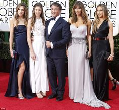 With his girls: Best Performance by an Actor in a Supporting Role in any Motion Picture winner Sylvester Stallone was joined by wife Jennifer Flavin and their teenage daughters (from left) Sistine, Scarlet and Sophia