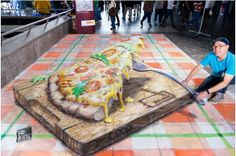 Pizza - 3D Street Art - **Love This One**