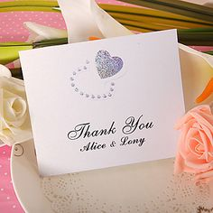 Thank You Card - Double Hearts (Set of 50) – USD $ 35.51