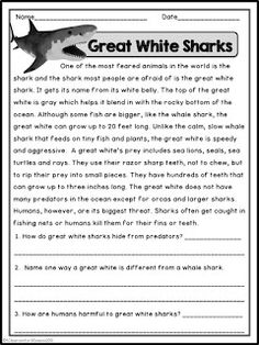 Summer Reading Passages with Comprehension Questions   These non-fiction reading passages have lots of fun facts that your students will love.  The topics include Flag Day Buzzing Bees (The Invention of) Popsicles! and Great White Sharks.  They can be used as guided reading homework for early finishers or even an easy way to get kids settled when they walk in the door!  Enjoy!  Christina  2nd grade 3rd grade 4th grade A Classroom for All Seasons free reading comprehension resources Summer