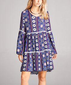 Purple Geometric Tiered Peasant Tunic