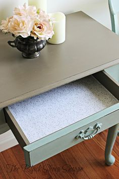 I used a lavender scented drawer liner. Laminate Furniture, Furniture Repair, Hand Painted Furniture, Refurbished Furniture, Upcycled Furniture, Cheap Furniture, Furniture Makeover, Painting Laminate, Second Hand Shop