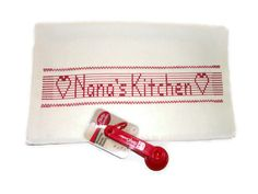 Personalized Kitchen Towel Swedish Weaving Huck by CanDoStitching, $13.75